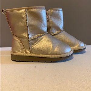 Toddler girls metallic winter boots